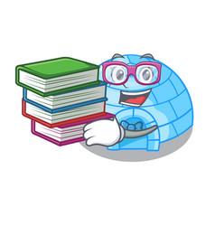 Student with book cartoon ice house igloo on vector