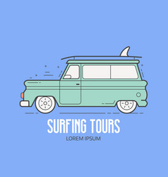 surfing tours travel logotype vector image