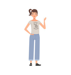 Teenager female with pony tail standing waving vector