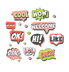 trendy speech bubbles set for label design speech vector image
