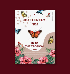 Tropical-themed poster design with butterfly vector
