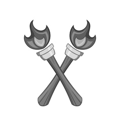 Two torches icon black monochrome style vector image