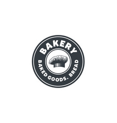 vintage chef hat hand drawn bakery shop emblem vector image