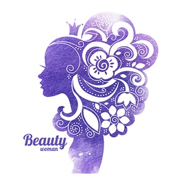 Watercolor beautiful woman silhouette with flowers vector