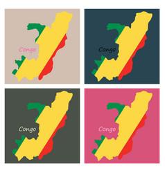 Waving fabric flag map of democratic republic vector