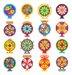Wheel fortune turning lucky spin game wheels vector