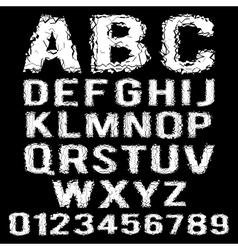 White polygonal broken alphabet on a black vector