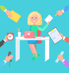 woman at work desk and hands that give orders vector image