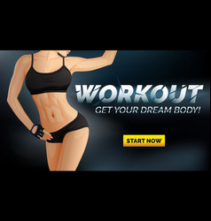 workout banner poster with slim woman body vector image