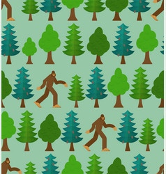 Yeti in forest pattern seamless bigfoot and trees vector