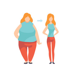 Young woman before and after losing weight vector