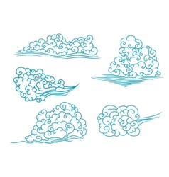 Fluffy clouds set vector image vector image