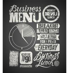 Restaurant menu typographic design on chalkboard vector image