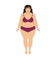 beautiful cartoon fat woman vector image vector image