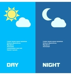 Day and night banners isolated with sun moon in vector image vector image