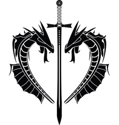 dragons and sword vector image