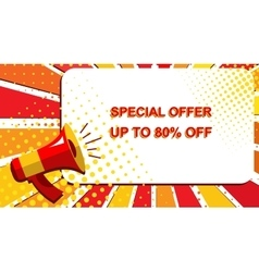Megaphone with special offer up to 80 percent off vector