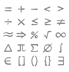 Set of monochrome icons with mathematical symbols vector image vector image