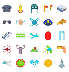 aircraft pilots icons set cartoon style vector image vector image