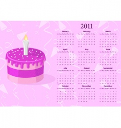 American calendar 2011 with cake vector image