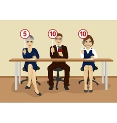 businesspeople in conference showing score cards vector image vector image