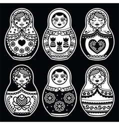 Matryoshka Russian doll white icons set on black vector image vector image