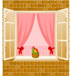 window frame and curtains vector image vector image