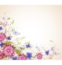 Abstract floral background with pink flowers vector image vector image