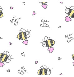 bee in love pattern vector image vector image