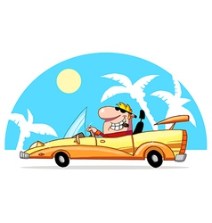 Blond Guy Driving A Convertible In The Tropics vector image