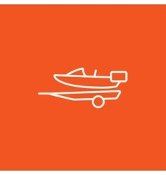 Boat on trailer for transportation line icon vector image