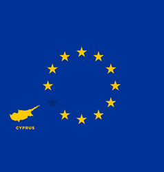 eu flag with cyprus country european union vector image vector image
