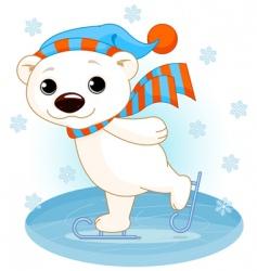 polar bear on ice skates vector image vector image
