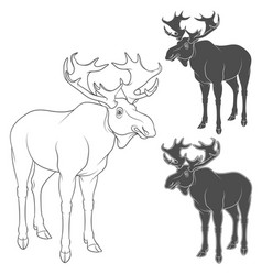 set of black and white with moose vector image vector image