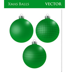 A set of red christmas balls vector