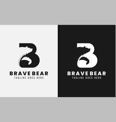 Abstract initial letter b logo with bear vector