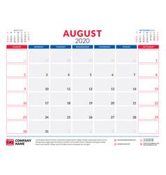August 2020 calendar planner stationery design vector