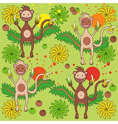 Background a monkey with bananas vector