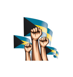 Bahamas flag and hand on white background vector