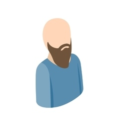 Bald man with a beard icon isometric 3d style vector