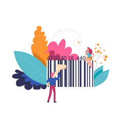 bar code of product and person with scanner vector image