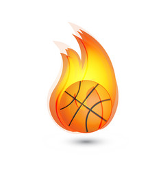 basketball on fire icon logo vector image