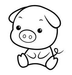 Black and white pig character sits forward asian vector