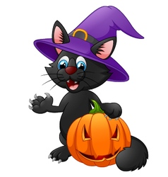 Black cat wearing witch hat vector