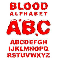 Blood alphabet letters set vector