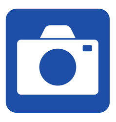blue white information sign - camera icon vector image