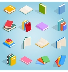 Book icons set isometric 3d style vector