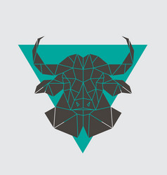 Buffalo head icon geometric polygonal style vector