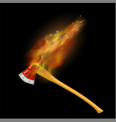 burning firefighter axe icon with fire vector image