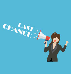 Business woman holding a megaphone with word last vector